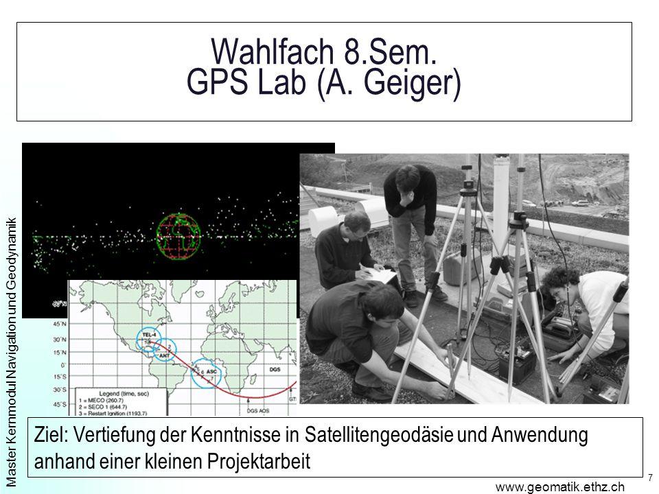 Master Kernmodul Navigation und Geodynamik www.geomatik.ethz.ch 7 Wahlfach 8.Sem.