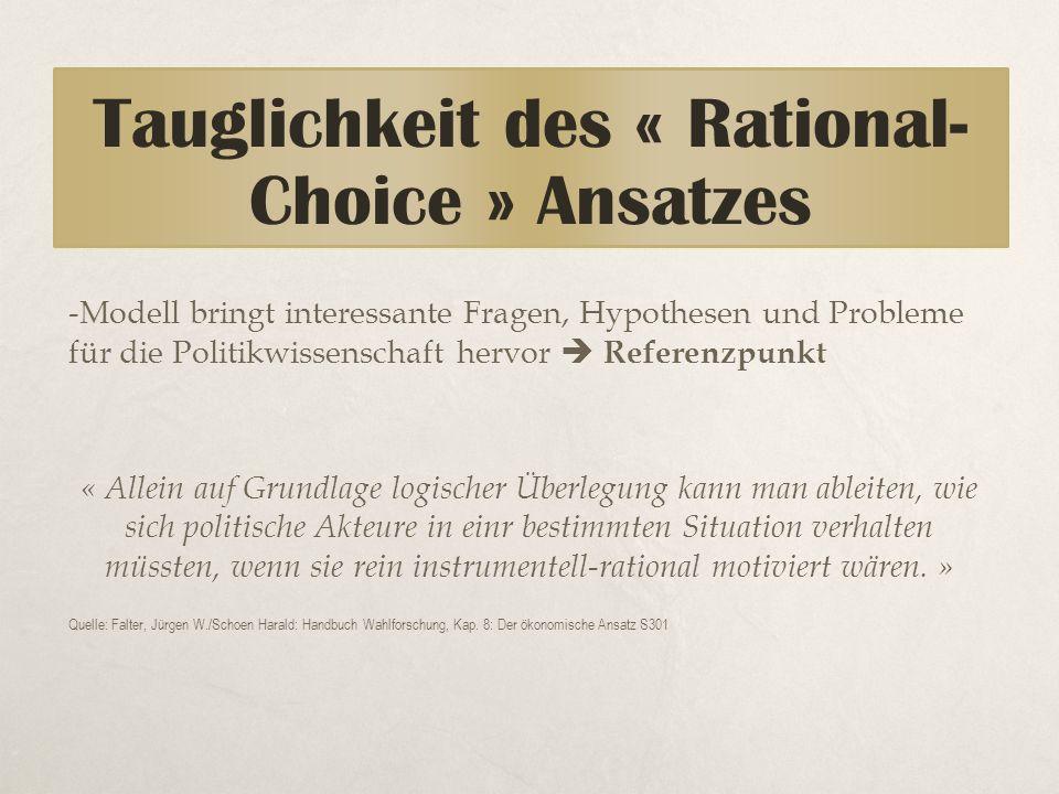 -Modell bringt interessante Fragen, Hypothesen und Probleme für die Politikwissenschaft hervor  Referenzpunkt « Allein auf Grundlage logischer Überle