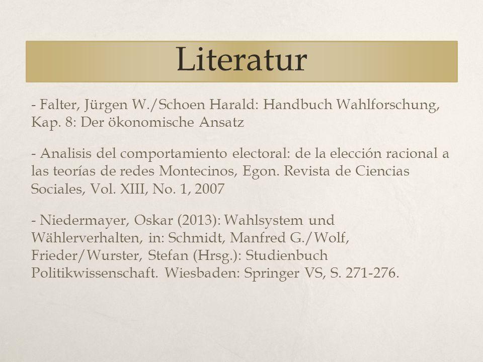 Literatur - Falter, Jürgen W./Schoen Harald: Handbuch Wahlforschung, Kap. 8: Der ökonomische Ansatz - Analisis del comportamiento electoral: de la ele