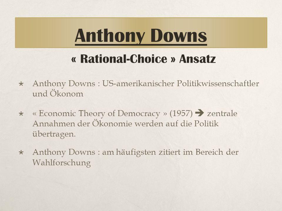 Anthony Downs Theorie 1- Grundannahmen des Rational Choice Ansatz Grundannahmen:  Prinzip des Methodologischen Individualismus  Gezielte Handlungen die: - Intentionen folgen - begründet werden können.