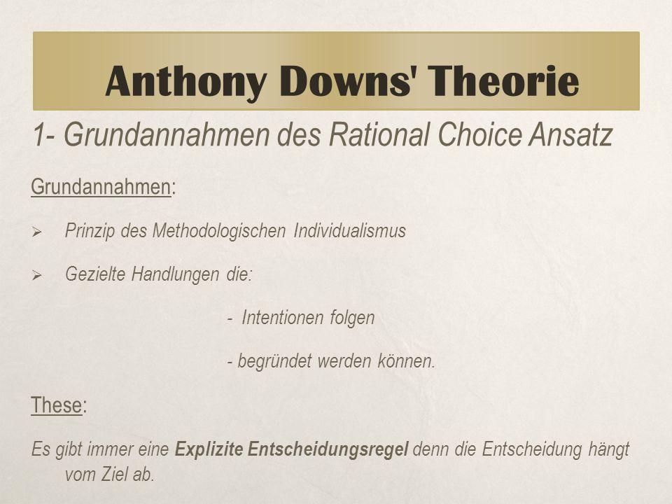 Anthony Downs' Theorie 1- Grundannahmen des Rational Choice Ansatz Grundannahmen:  Prinzip des Methodologischen Individualismus  Gezielte Handlungen