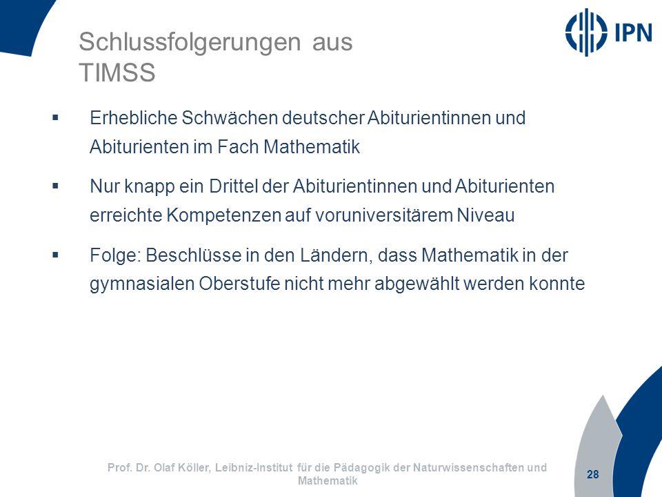 28  Erhebliche Schwächen deutscher Abiturientinnen und Abiturienten im Fach Mathematik  Nur knapp ein Drittel der Abiturientinnen und Abiturienten erreichte Kompetenzen auf voruniversitärem Niveau  Folge: Beschlüsse in den Ländern, dass Mathematik in der gymnasialen Oberstufe nicht mehr abgewählt werden konnte Schlussfolgerungen aus TIMSS