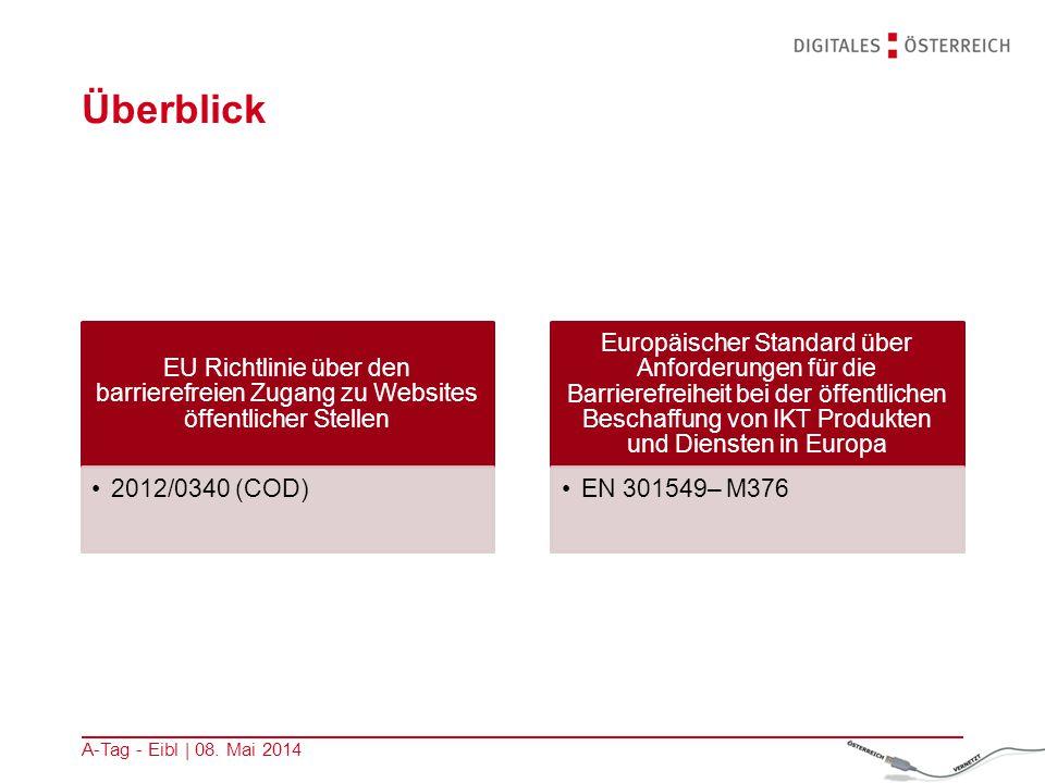 Überblick EU Richtlinie über den barrierefreien Zugang zu Websites öffentlicher Stellen 2012/0340 (COD) Europäischer Standard über Anforderungen für d