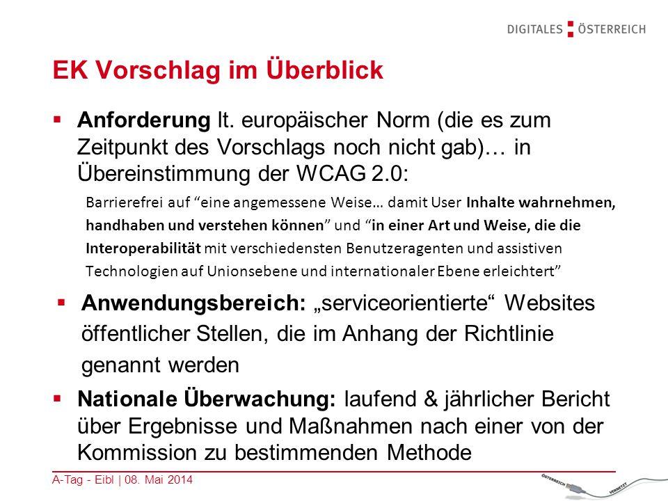 EK Vorschlag im Überblick  Anforderung lt. europäischer Norm (die es zum Zeitpunkt des Vorschlags noch nicht gab)… in Übereinstimmung der WCAG 2.0: B