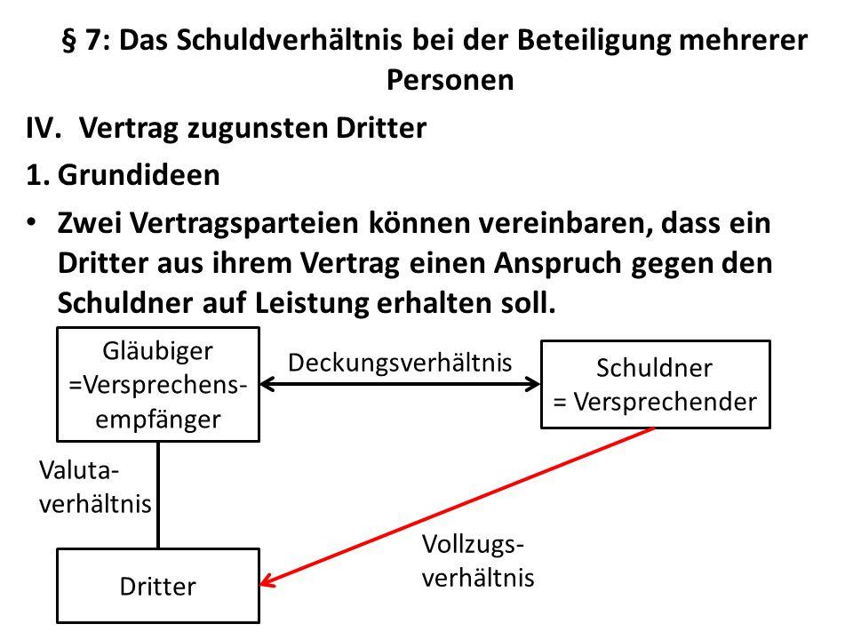 § 7: Das Schuldverhältnis bei der Beteiligung mehrerer Personen IV.Vertrag zugunsten Dritter 1.Grundideen Zwei Vertragsparteien können vereinbaren, da