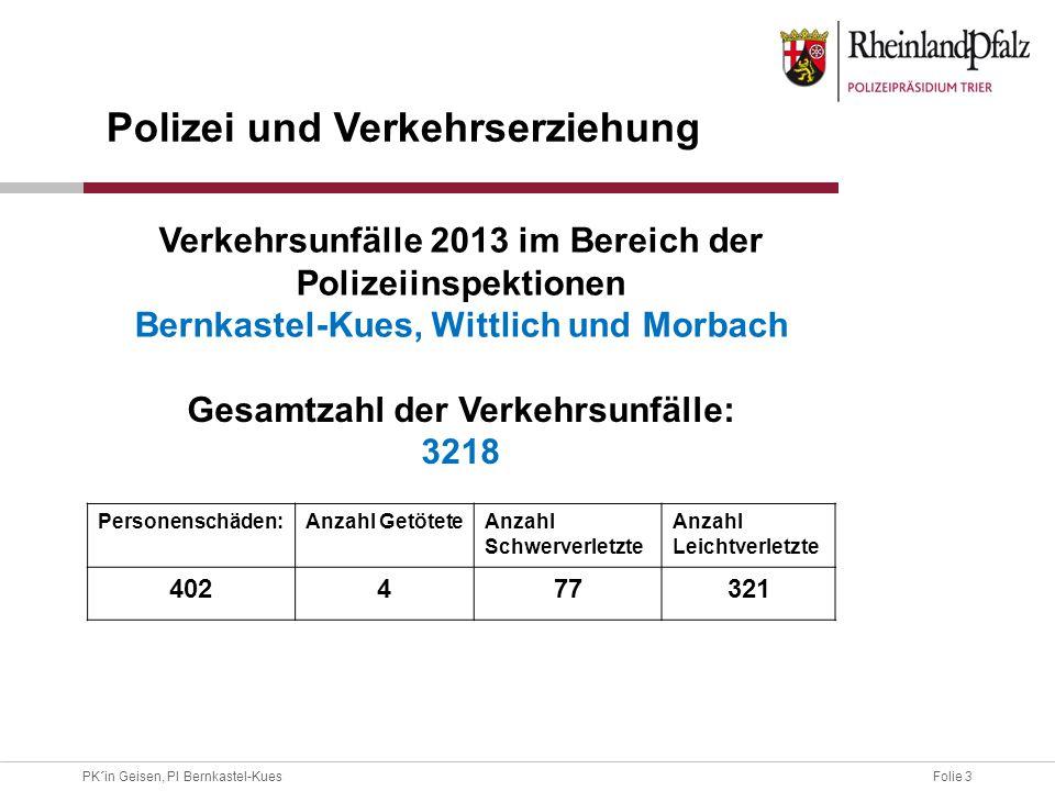 Folie 3PK´in Geisen, PI Bernkastel-Kues Gesamtzahl der Verkehrsunfälle: 3218 Personenschäden:Anzahl GetöteteAnzahl Schwerverletzte Anzahl Leichtverlet