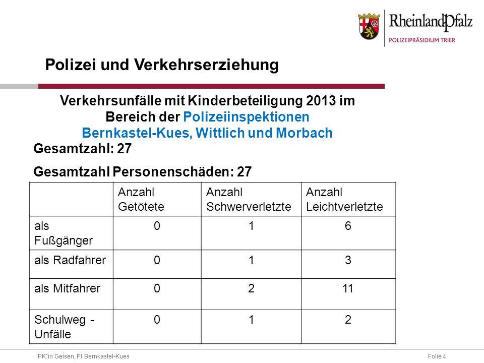 Folie 4PK´in Geisen, PI Bernkastel-Kues Gesamtzahl: 27 Gesamtzahl Personenschäden: 27 Anzahl Getötete Anzahl Schwerverletzte Anzahl Leichtverletzte al