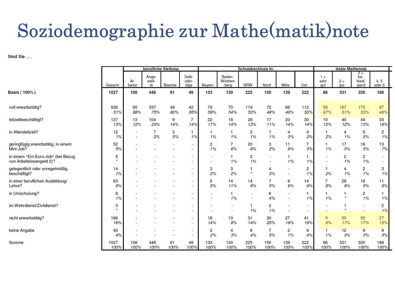 Soziodemographie zur Mathe(matik)note