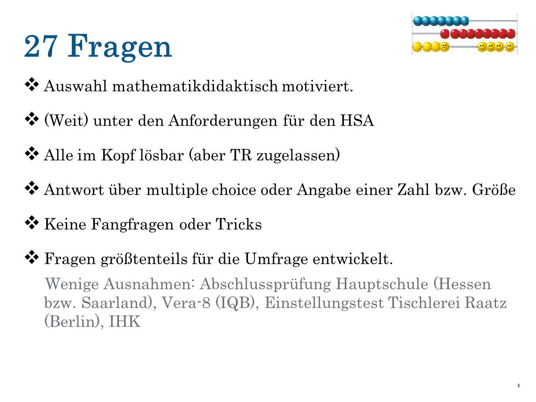 27 Fragen  Auswahl mathematikdidaktisch motiviert.  (Weit) unter den Anforderungen für den HSA  Alle im Kopf lösbar (aber TR zugelassen)  Antwort