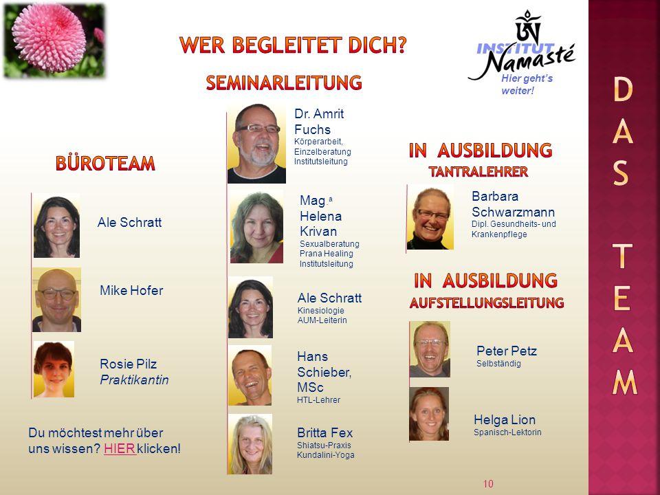 10 Ale Schratt Dr. Amrit Fuchs Körperarbeit, Einzelberatung Institutsleitung Mike Hofer Mag. a Helena Krivan Sexualberatung Prana Healing Institutslei