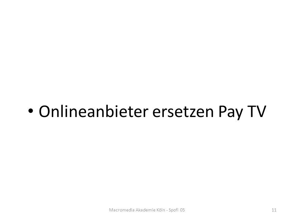 Onlineanbieter ersetzen Pay TV Macromedia Akademie Köln - Spofi 0511