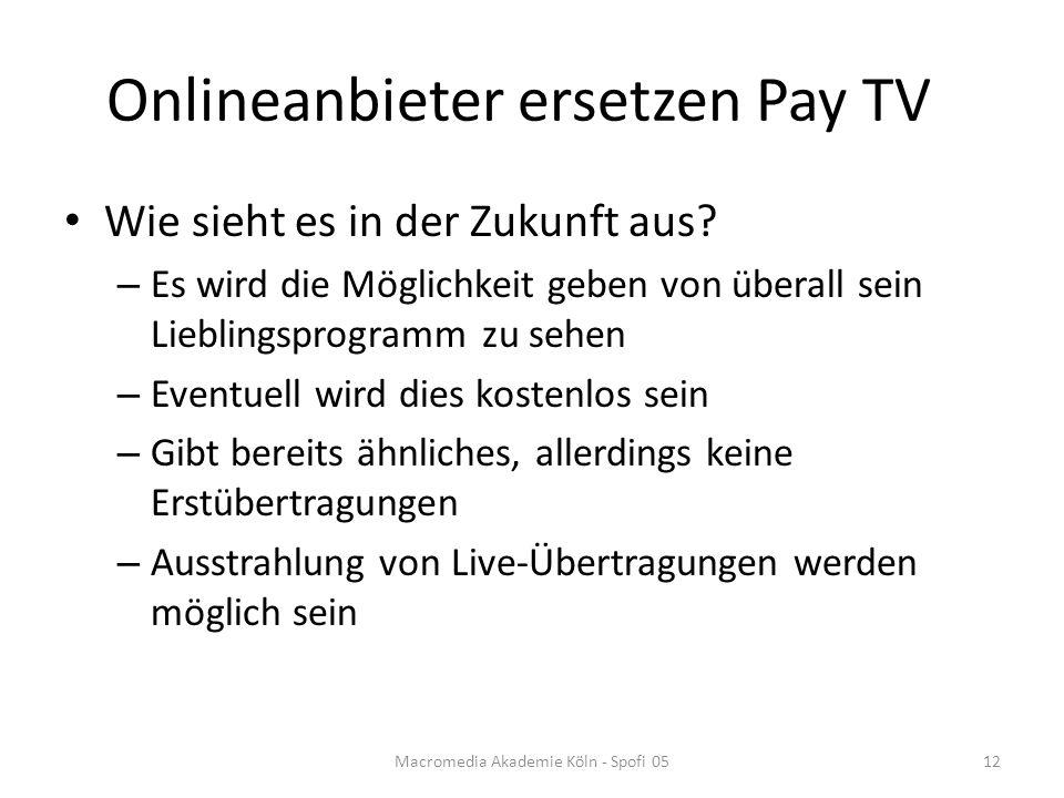 Onlineanbieter ersetzen Pay TV Wie sieht es in der Zukunft aus.