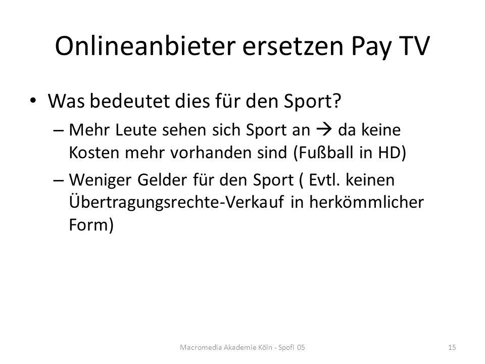 Onlineanbieter ersetzen Pay TV Was bedeutet dies für den Sport.