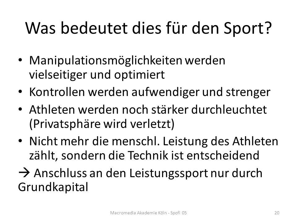 Was bedeutet dies für den Sport.