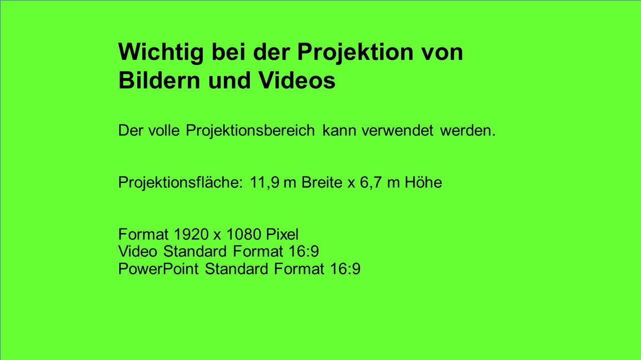 Wichtig bei der Projektion von Bildern und Videos Der volle Projektionsbereich kann verwendet werden.