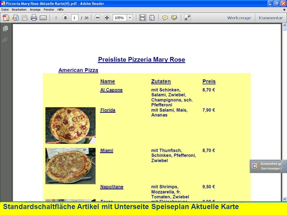 Standardschaltfläche Artikel mit Unterseite Speiseplan Aktuelle Karte