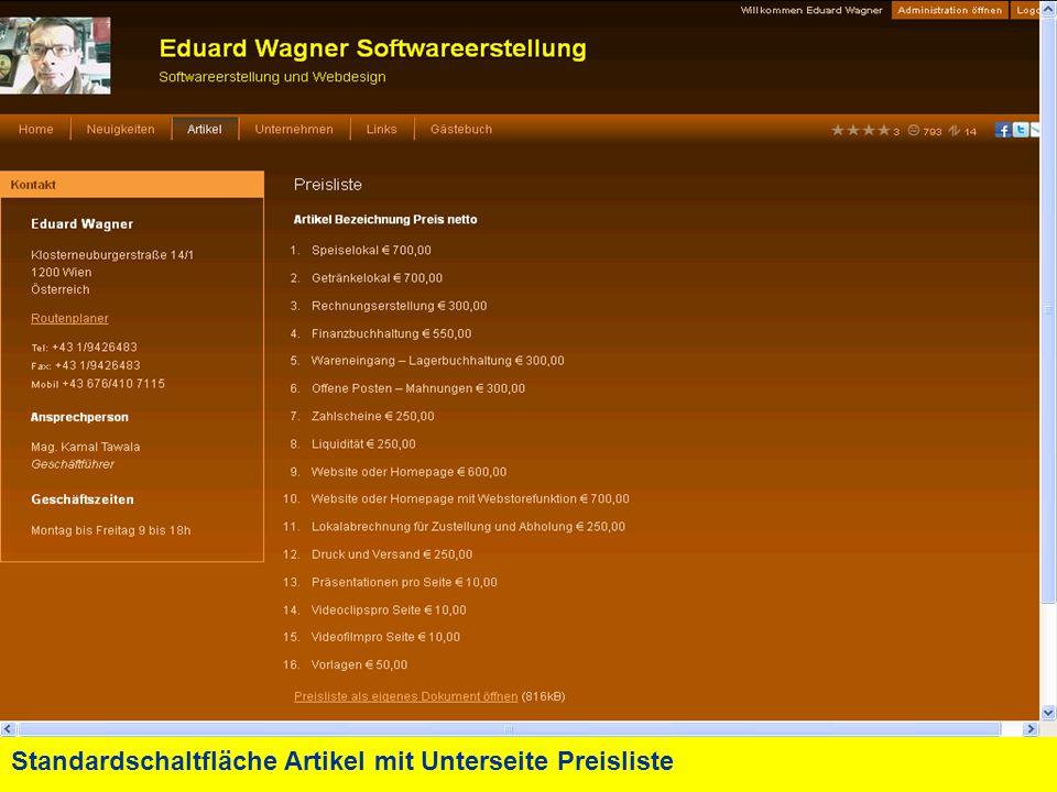 Standardschaltfläche Artikel mit Unterseite Preisliste