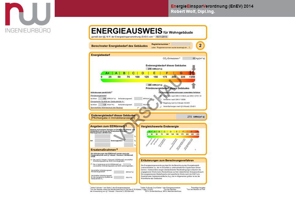 EnergieEinsparVerordnung (EnEV) 2014 Robert Wolf, Dipl.Ing.