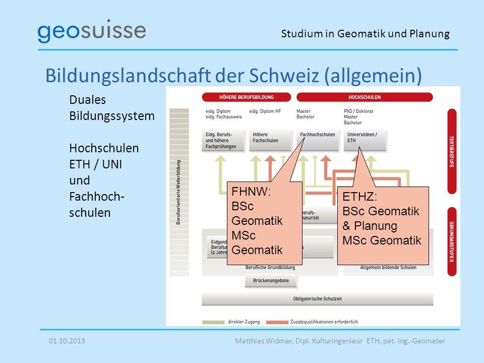 Studium in Geomatik und Planung Matthias Widmer, Dipl. Kulturingenieur ETH, pat. Ing.-Geometer Bildungslandschaft der Schweiz (allgemein) Duales Bildu
