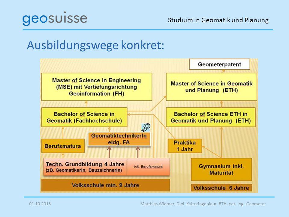 Studium in Geomatik und Planung Matthias Widmer, Dipl. Kulturingenieur ETH, pat. Ing.-Geometer01.10.2013 Ausbildungswege konkret: