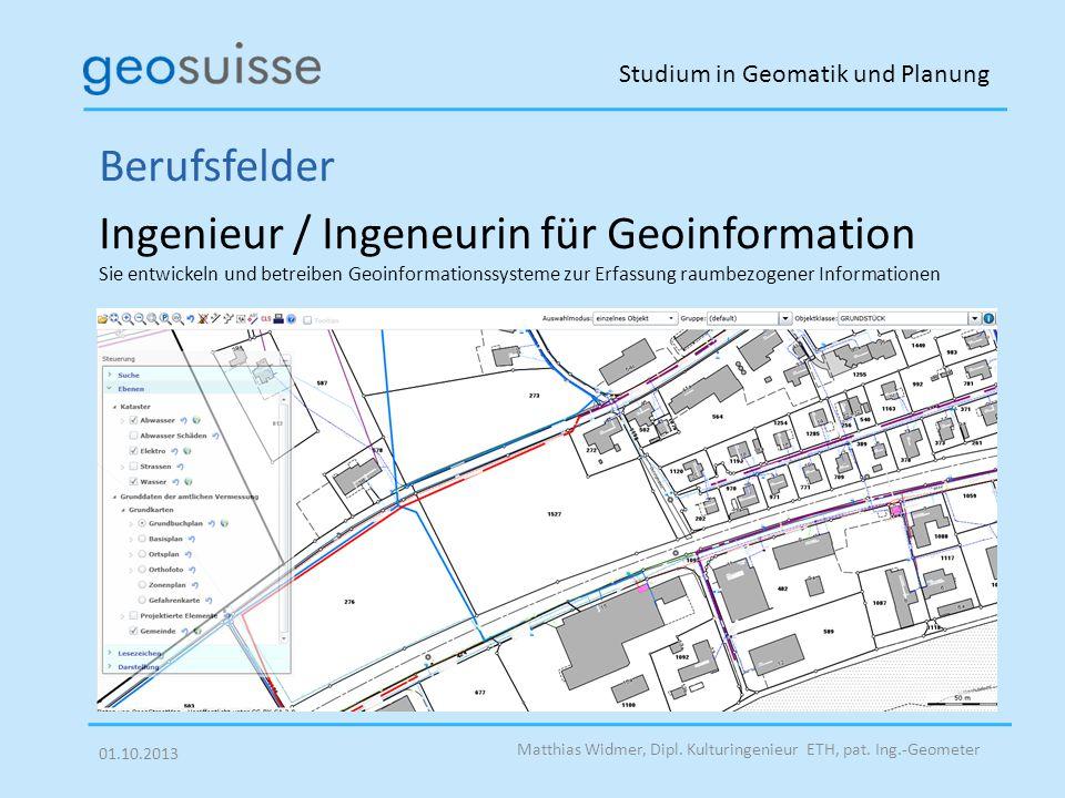 Studium in Geomatik und Planung Matthias Widmer, Dipl.