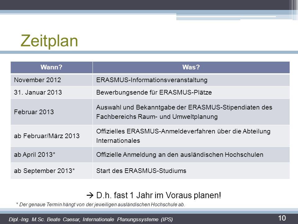Zeitplan 10 Wann?Was? November 2012ERASMUS-Informationsveranstaltung 31. Januar 2013Bewerbungsende für ERASMUS-Plätze Februar 2013 Auswahl und Bekannt