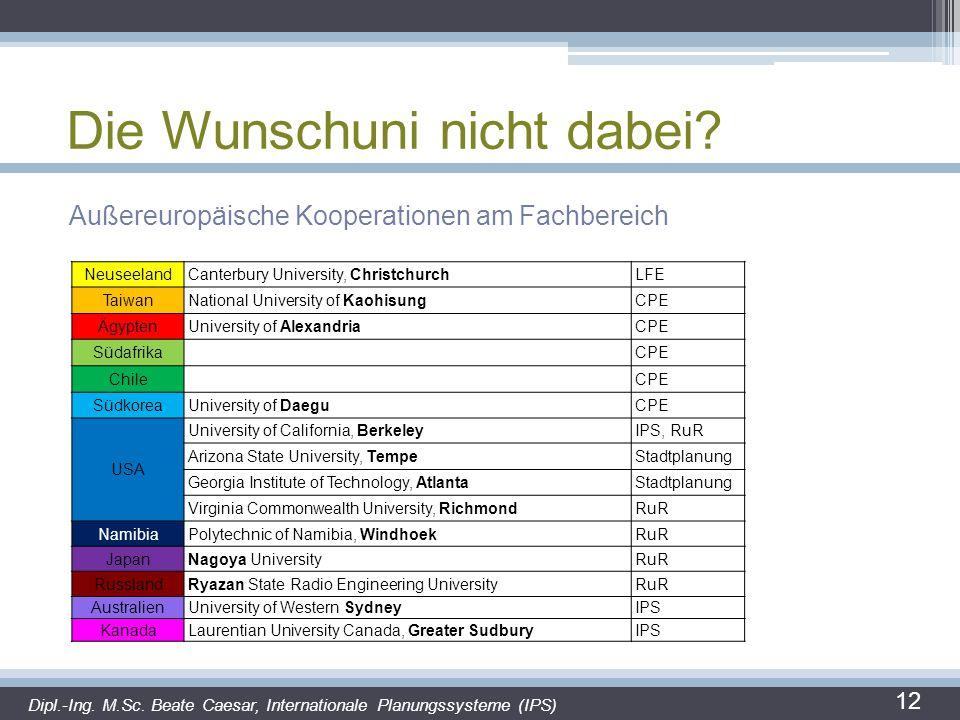 Die Wunschuni nicht dabei? Außereuropäische Kooperationen am Fachbereich 12 Dipl.-Ing. M.Sc. Beate Caesar, Internationale Planungssysteme (IPS) Neusee