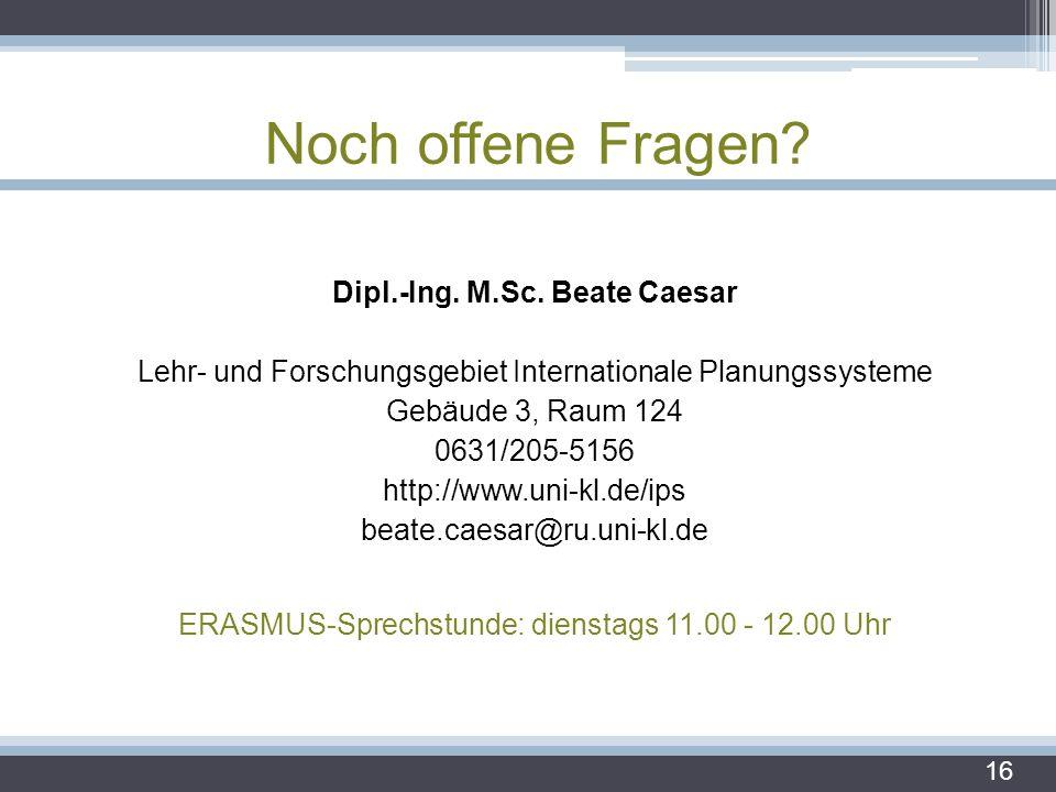 Noch offene Fragen? Dipl.-Ing. M.Sc. Beate Caesar Lehr- und Forschungsgebiet Internationale Planungssysteme Gebäude 3, Raum 124 0631/205-5156 http://w