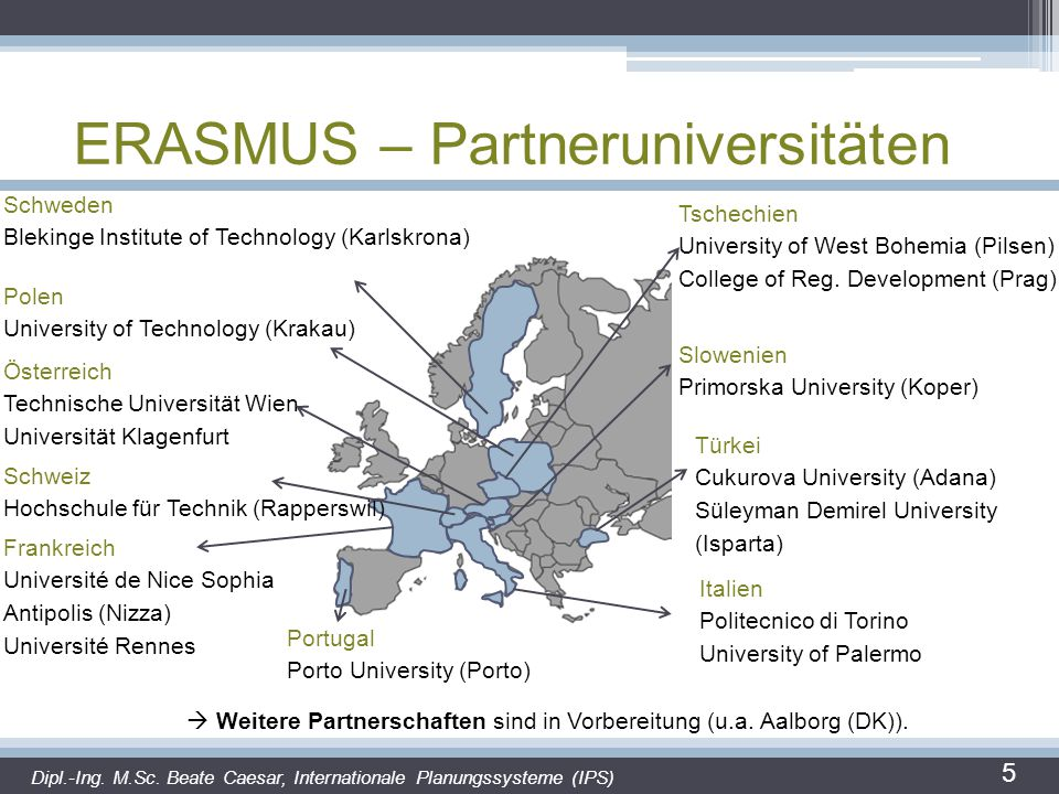 ERASMUS – Partneruniversitäten 5 Schweden Blekinge Institute of Technology (Karlskrona) Polen University of Technology (Krakau) Österreich Technische