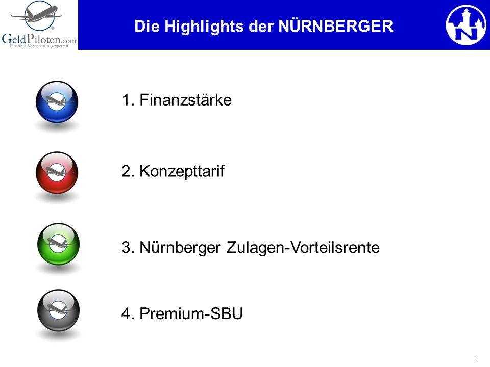 1 Die Highlights der NÜRNBERGER 1. Finanzstärke 2. Konzepttarif 3. Nürnberger Zulagen-Vorteilsrente 4. Premium-SBU