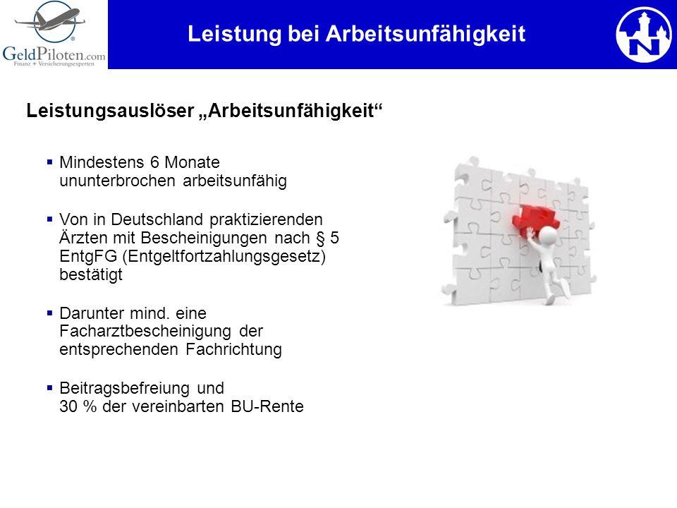 Leistung bei Arbeitsunfähigkeit  Mindestens 6 Monate ununterbrochen arbeitsunfähig  Von in Deutschland praktizierenden Ärzten mit Bescheinigungen na