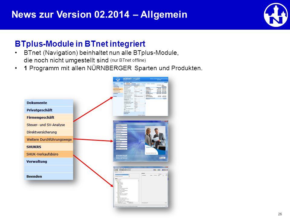 News zur Version 02.2014 25 BTplus-Module in BTnet integriert BTnet (Navigation) beinhaltet nun alle BTplus-Module, die noch nicht umgestellt sind (nu