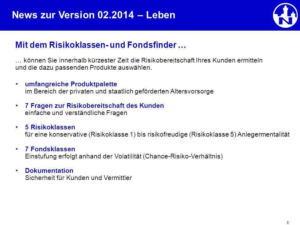 News zur Version 02.2014 5 Mit dem Risikoklassen- und Fondsfinder … … können Sie innerhalb kürzester Zeit die Risikobereitschaft Ihres Kunden ermittel