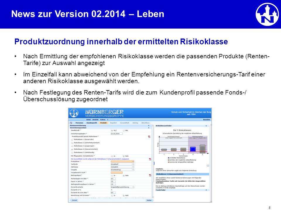 News zur Version 02.2014 8 Produktzuordnung innerhalb der ermittelten Risikoklasse Nach Ermittlung der empfohlenen Risikoklasse werden die passenden P