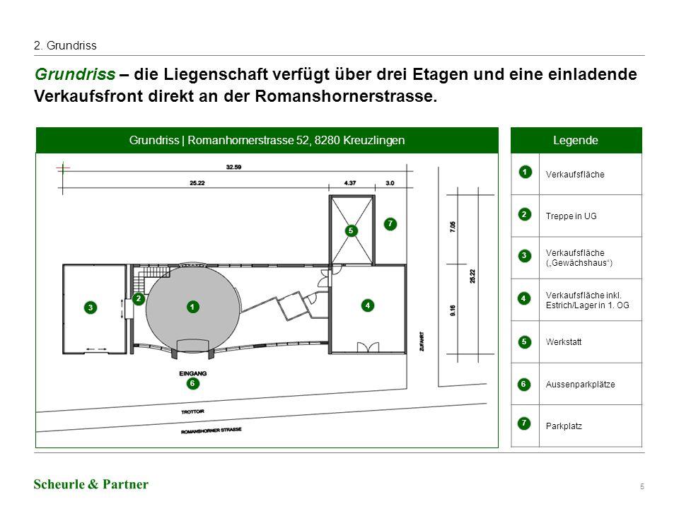 6 Aussenansicht Front und Rückseite – die grosszügige Verkaufsfläche liegt direkt an der Romanshornerstrasse.
