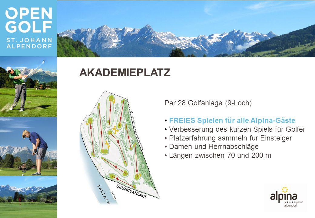 AKADEMIEPLATZ Par 28 Golfanlage (9-Loch) FREIES Spielen für alle Alpina-Gäste Verbesserung des kurzen Spiels für Golfer Platzerfahrung sammeln für Einsteiger Damen und Herrnabschläge Längen zwischen 70 und 200 m