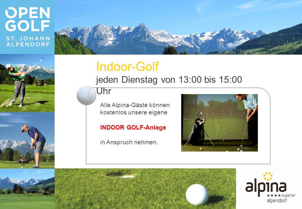 Alle Alpina-Gäste können kostenlos unsere eigene INDOOR GOLF-Anlage in Anspruch nehmen.