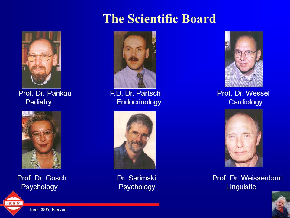 June 2005, Fonyod The Scientific Board Prof.Dr. Pankau P.D.