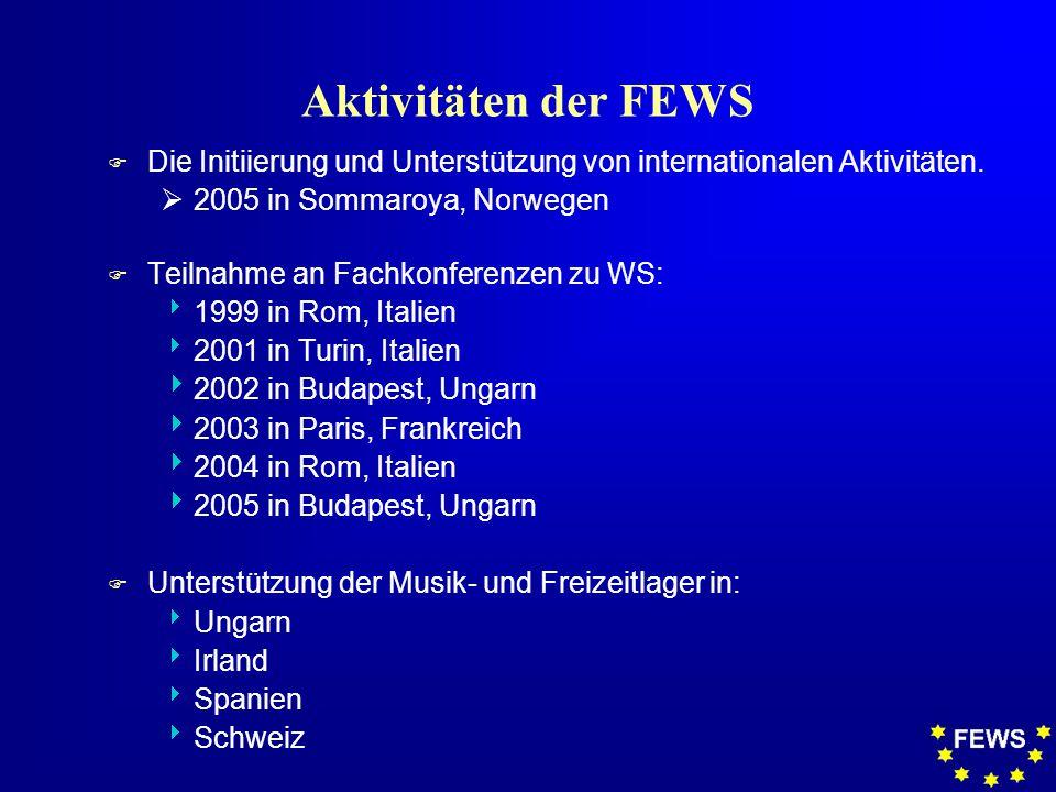 Aktivitäten der FEWS F Die Initiierung und Unterstützung von internationalen Aktivitäten.