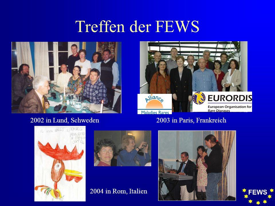 Treffen der FEWS 2002 in Lund, Schweden2003 in Paris, Frankreich 2004 in Rom, Italien