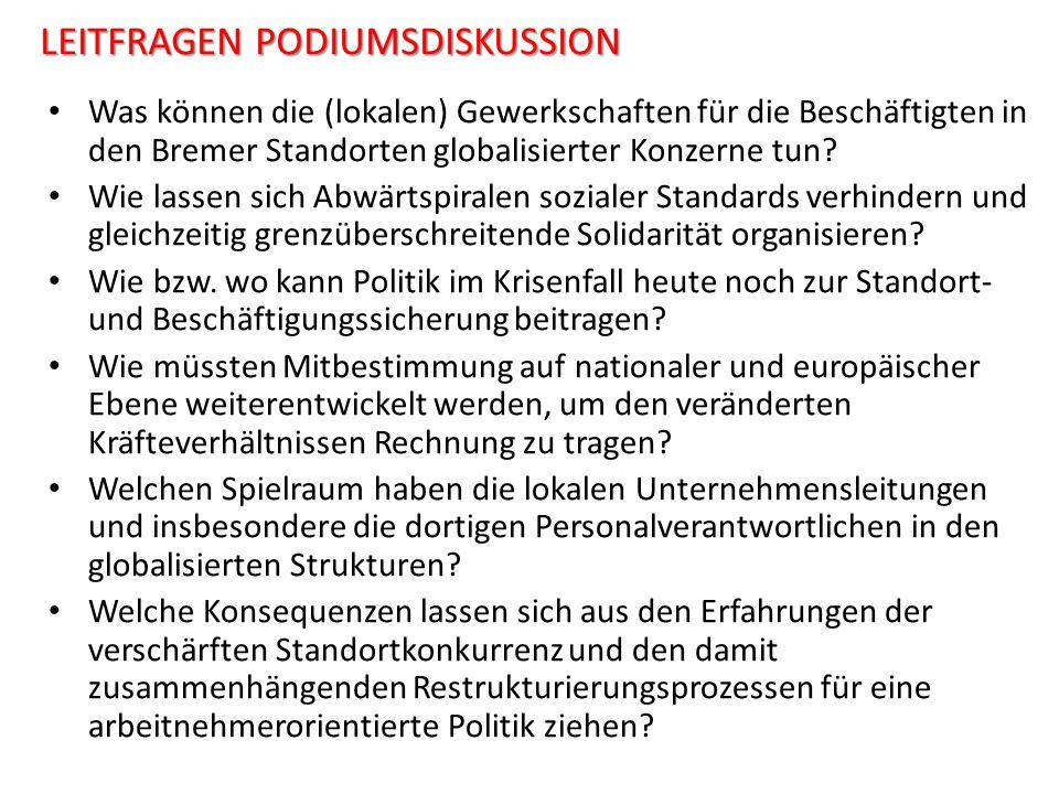 LEITFRAGEN PODIUMSDISKUSSION Was können die (lokalen) Gewerkschaften für die Beschäftigten in den Bremer Standorten globalisierter Konzerne tun? Wie l