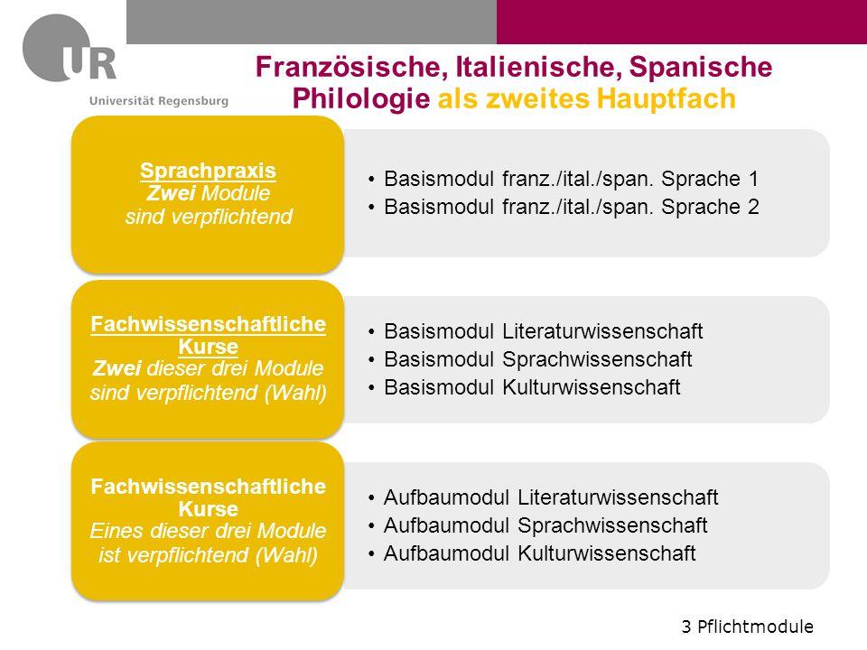 Basismodul franz./ital./span. Sprache 1 Basismodul franz./ital./span. Sprache 2 Sprachpraxis Zwei Module sind verpflichtend Basismodul Literaturwissen