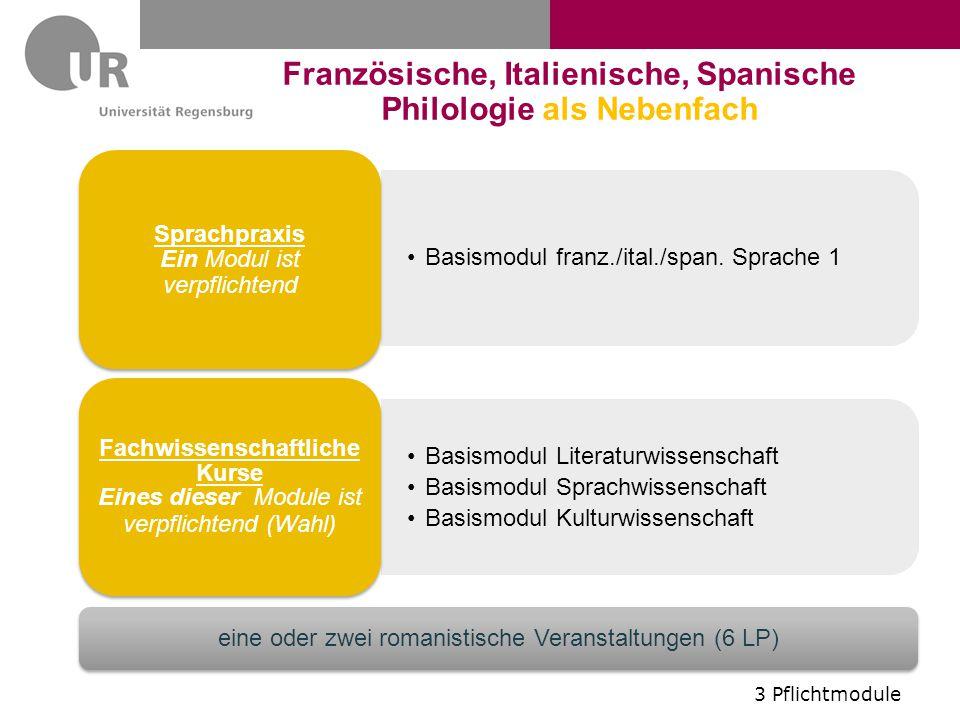 Basismodul franz./ital./span. Sprache 1 Sprachpraxis Ein Modul ist verpflichtend Basismodul Literaturwissenschaft Basismodul Sprachwissenschaft Basism
