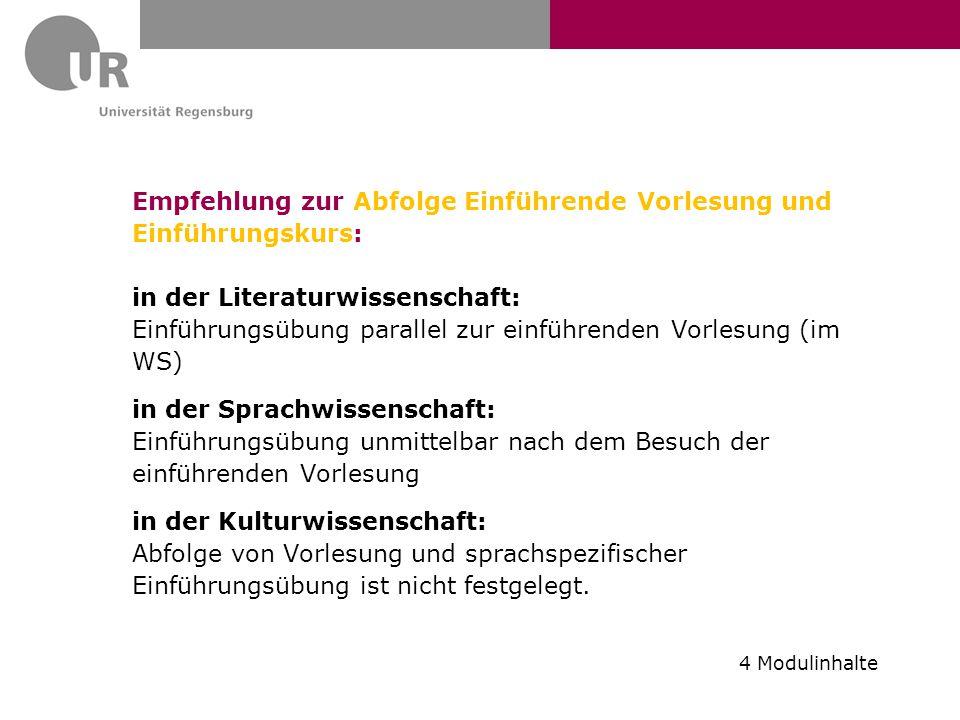 Empfehlung zur Abfolge Einführende Vorlesung und Einführungskurs: in der Literaturwissenschaft: Einführungsübung parallel zur einführenden Vorlesung (