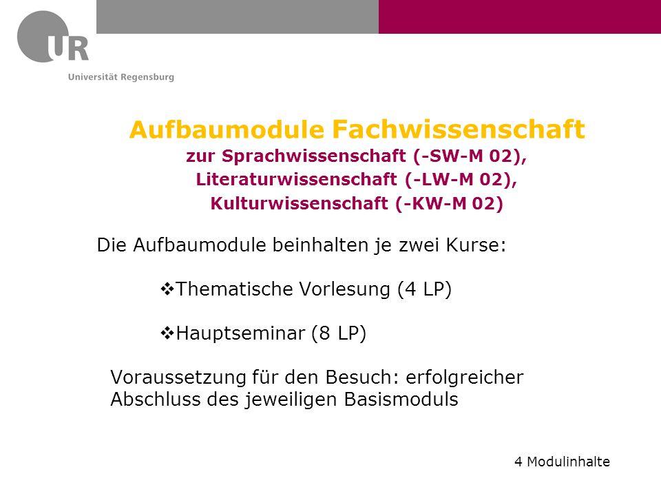 Aufbaumodule Fachwissenschaft zur Sprachwissenschaft (-SW-M 02), Literaturwissenschaft (-LW-M 02), Kulturwissenschaft (-KW-M 02) Die Aufbaumodule bein