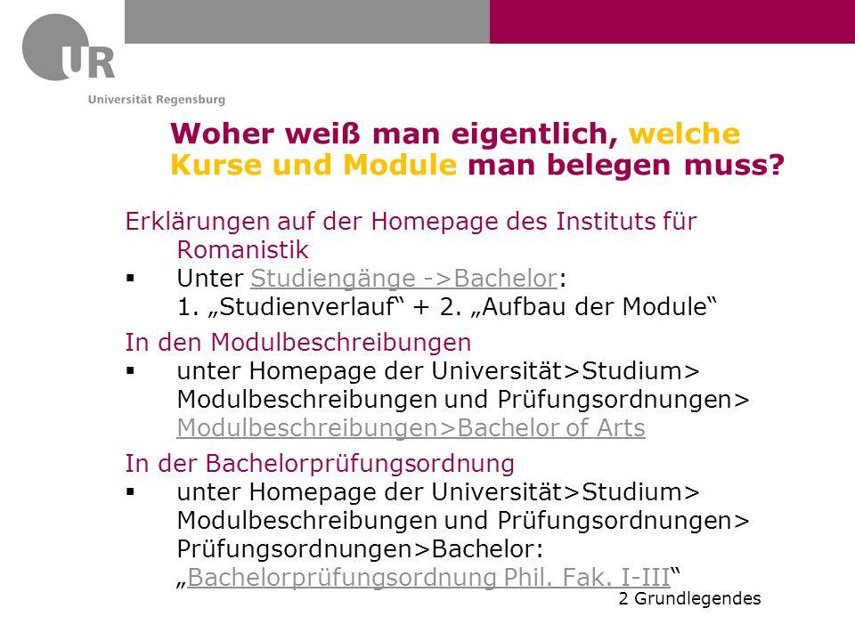 Woher weiß man eigentlich, welche Kurse und Module man belegen muss? Erklärungen auf der Homepage des Instituts für Romanistik  Unter Studiengänge ->