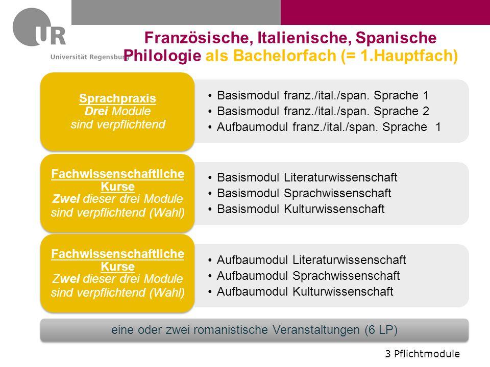 Basismodul franz./ital./span. Sprache 1 Basismodul franz./ital./span. Sprache 2 Aufbaumodul franz./ital./span. Sprache 1 Sprachpraxis Drei Module sind
