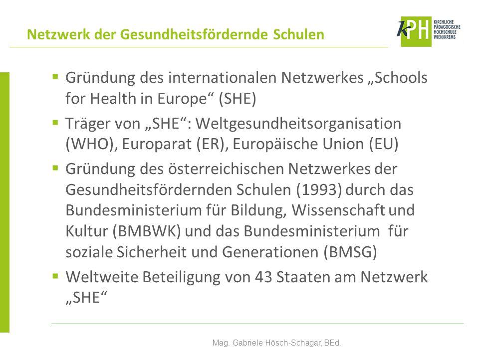 """ Gründung des internationalen Netzwerkes """"Schools for Health in Europe"""" (SHE)  Träger von """"SHE"""": Weltgesundheitsorganisation (WHO), Europarat (ER),"""