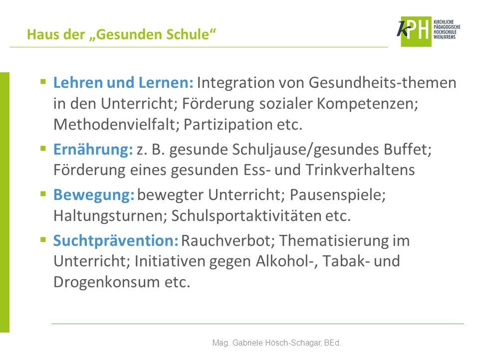  Lehren und Lernen: Integration von Gesundheits-themen in den Unterricht; Förderung sozialer Kompetenzen; Methodenvielfalt; Partizipation etc.  Ernä