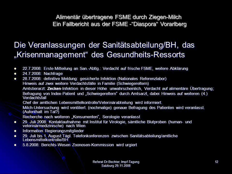"""12Referat Dr.Bechter; Impf-Tagung Salzburg 29.11.2008 Die Veranlassungen der Sanitätsabteilung/BH, das """"Krisenmanagement des Gesundheits-Ressorts 22.7.2008: Erste Mitteilung an San.-Abtlg.: Verdacht auf frische FSME, weitere Abklärung 22.7.2008: Erste Mitteilung an San.-Abtlg.: Verdacht auf frische FSME, weitere Abklärung 24.7.2008: Nachfrage 24.7.2008: Nachfrage 28.7.2008: definitive Meldung: gesicherte Infektion (Nationales Referenzlabor) 28.7.2008: definitive Meldung: gesicherte Infektion (Nationales Referenzlabor) Hinweis auf zwei weitere Verdachtsfälle in Familie (Schwiegereltern) Amtstierarzt: Zecken-Infektion in dieser Höhe unwahrscheinlich, Verdacht auf alimentäre Übertragung; Befragung von Index-Patient und """"Schwiegereltern durch Amtsarzt, dabei Hinweis auf weiteren (4.) Verdachtsfall Chef der amtlichen Lebensmittelkontrolle/Veterinärabteilung wird informiert."""